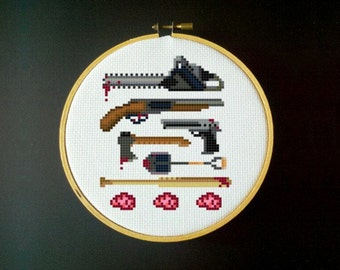 Zombie Killer Cross Stitch Pattern