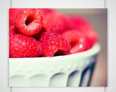 Raspberry Kitchen Photo - 8x10 Photograph - Food Print - Macro Fruit Photograph - red juicy bowl of raspberries in white bowl 'Raspberry' - BokehEverAfter