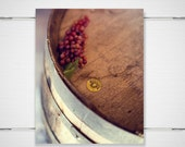 Kitchen Wine Photography - 8x10 photograph print -wood wine barrel with grapes autumn fall winery kitchen wall home decor 'Merlot'