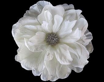 Flora - Bridal Ivory Gardenia Flower Fascinator Hair Clip OR Sash