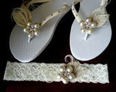 Something blue-Ivory Garter & flip flops set. Ivory Peacock Feathers w/ SWAROVSKI Crystals N StarFish Rhinestone -MUST Have Collection-2013