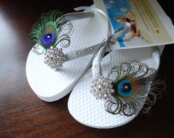 Flower girls peacock flip flops. Silver decorated flip flops. Choose color..   - girls -Tropical collection-Silver