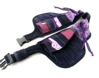 Purple patchwork belt bag - Fantasy pocket belt - Purple fanny pack - Purple hip bag