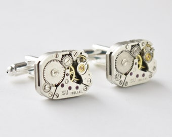 steampunk cuff links - oblong vintage watch mechanisms on silver bases