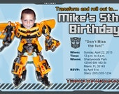 Transformers Invitations Custom Designed  with Your Child as the Action Figure Bumblebee Design 7