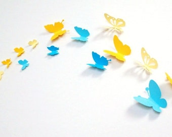 20 pieces 3D paper butterfly sticker - shaded yellow and shaded blue