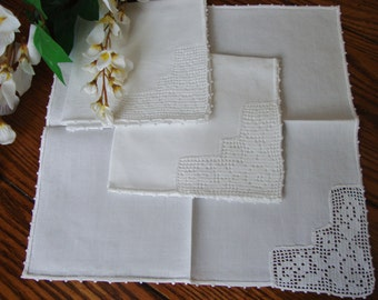 White Linen Napkins Set of Three Hand Crochet Detail Vintage