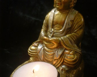 Meditative Buddha Statue with Tea Candle in Embellished Gold and Silver