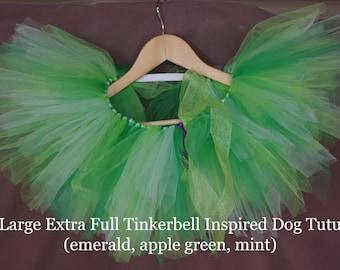 Extra Full Whimsical Tinkerbell Inspired Dog Tutu- emerald, apple, mint
