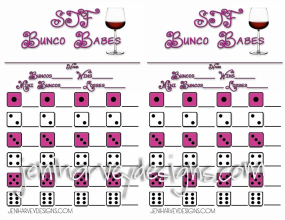 Wine Glass Bunco Score Sheet