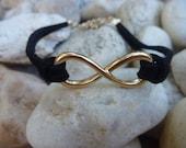 Leather Bracelet.Charm Black Leather Bracelet.Unisex