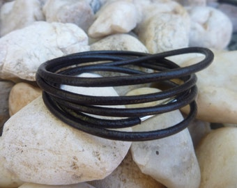 Wrap Brown Leather Bracelet . Dark Brown Five  Circles  Leather Bracelet. Wirstband.Cuff .Unisex