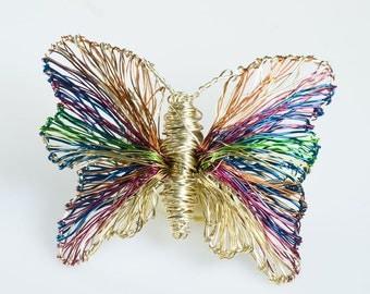Gold Butterfly brooch Butterfly Jewelry Wire sculpture Art jewelry Womens Gift Unusual jewelry Insect art Insect jewelry Luxury jewelry