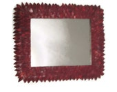 """Red Mirror, Leather Feather Bathroom Mirror 17"""" x 20"""", Red Leather Mirror, Red Hanging Mirror"""