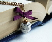 Book page bead and purple ribbon bow necklace, gold plated chain