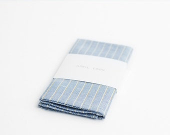 Striped pocket square, light blue handkerchief, MADE TO ORDER