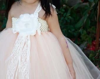 Flower girl dress Peach with Lace TuTu Dress.baby tutu dress, toddler tutu dress, wedding, birthday