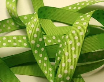 "5/8"" Grosgrain Dotted Ribbon - Apple Green Grosgrain Ribbon - 25 yd Spool"
