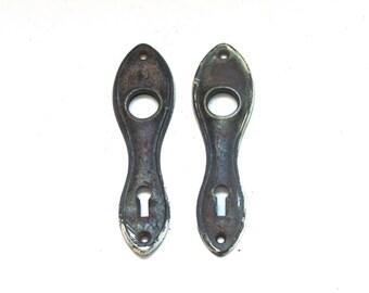 Pair of Vintage Matching Brass Door Plates