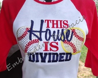 """Raglan """"THIS HOUSE Is DIVIDED"""" Baseball & Softball Embroidered / Appliqued Womens T-Shirt"""