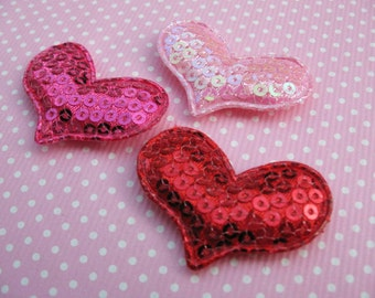 "60 Padded 1.5"" Sequin Heart Appliques/hair -3 Colors"