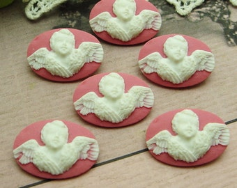 6Pcs Lovely Angel Circle Cameo 14X20 mm,White on Pink