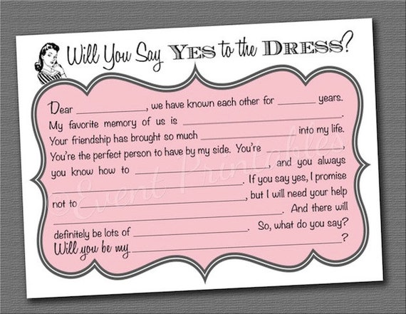 Diy printable will you be my bridesmaid cards by for Diy will template