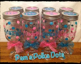 11 Personalized REDNECK WINE GLASSES Pint Mason Jar with Name Word Initial Monogram Polka Dots Christmas Wedding Birthday Bachelorette Gift