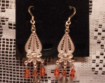 Sterling Silver Filigree earring with Swarovski crystals
