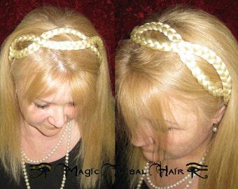 CUSTOM hairband RETRO braid HEADBAND 60s 70s Polkadot Rockabilly hair piece Fantasy extension plaited Wedding tiara crown diadem