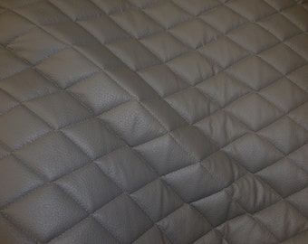 """Grey Quilted Vinyl fabric with 3/8"""" Foam Backing Upholstery"""
