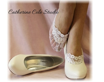 ENCHANTING LACE in White bridal lace socks wedding shoe socks lace socks heels lacey anklets footlets boat socks Catherine Cole Studio FTL4