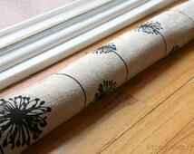 Draft Stopper- Denton Black and Beige Dandelion- Window or Door Snake- Burlap Textured Home Decor- Breeze Blocker- Draft Dodger