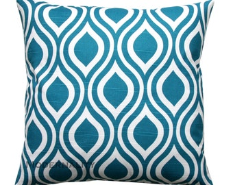 Blue Toss Pillow, Dark Turquoise Pillow, Aquarius Nicole Pillow Cover, Zippered Pillow, Cushion Cover, Couch Pillow, Bed Pillows, Blue Decor