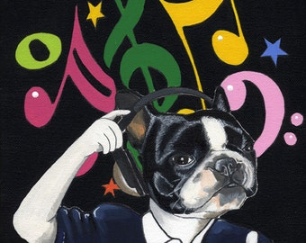 Dj Frenchie. Original Dog Painting (21X30cm)