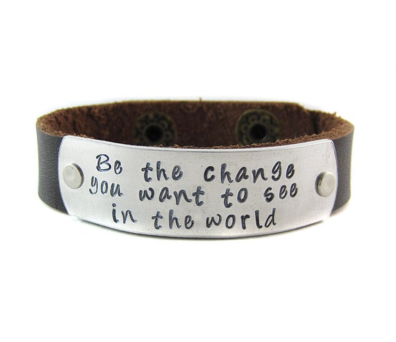 inspirational quote leather cuff bracelet be by