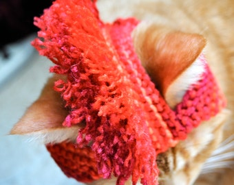Mohawk Cat Hat - Red, Orange, Pink Tie Dye - Hand Knit Cat Costume - Halloween Costume for Cats