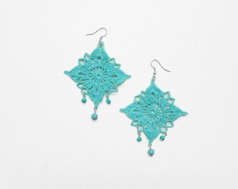 Turquoise  crochet earrings -romantic hand crochet turquoise  earrings -unique accessory for her