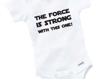 The Force Is Strong Jedi Onesie Bodysuit Baby Shower Gift Funny Geek Nerd Cute Sci Fi Fun