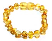 Baltic Amber Teething Bracelet/Anklet - Knotted - Clear Lemon - Made in Canada