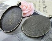 10 pcs 30x40mm Antique Bronze  Cameo Cabochon Base Setting Tray Blanks Pendants Necklace Charm Pendant D256