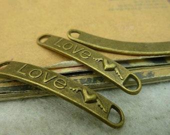 30pcs 6x38mm The Love Antique Bronze Retro Pendant Charm For Jewelry Bracelet Necklace Charms Pendants C2190