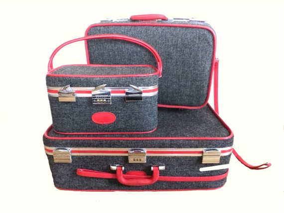 Vintage Skyway Luggage Tweed Gray and Red Suitcase Luggage Set