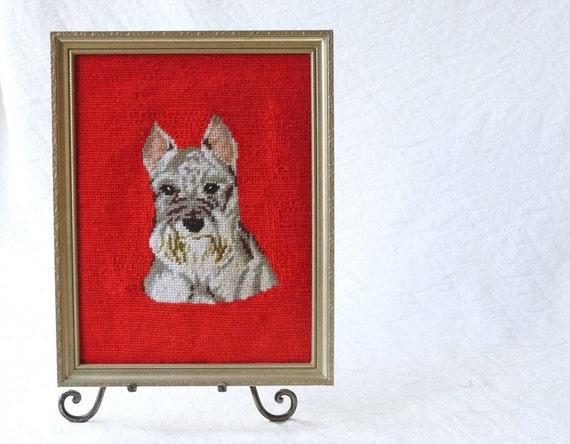 Schnauzer Dog Needlepoint in silver frame