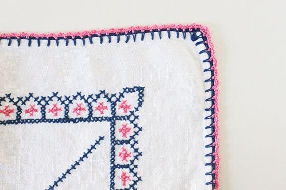 Vivid Pink & Blue Hand Embroidered Tablecloth, Vintage, Linen