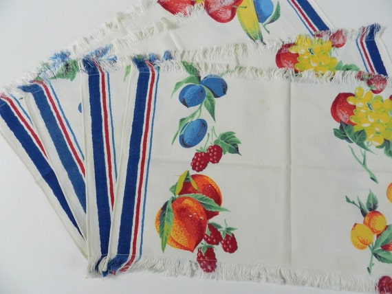 Vintage Fruit and More Fruit Blue and Red Stripe Placemats Table Mats Set of 4