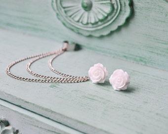 White Rose Bloom Silver Triple Chain Ear Cuff Earrings (Pair)