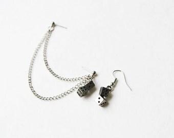 Silver Dice Cartilage Earrings (Pair)
