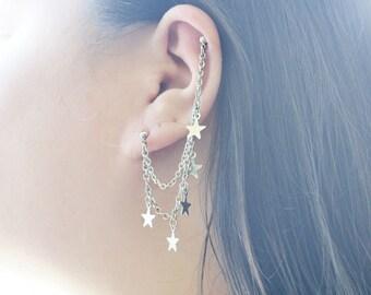 Dangling Star Double Pierce Cartilage Earring