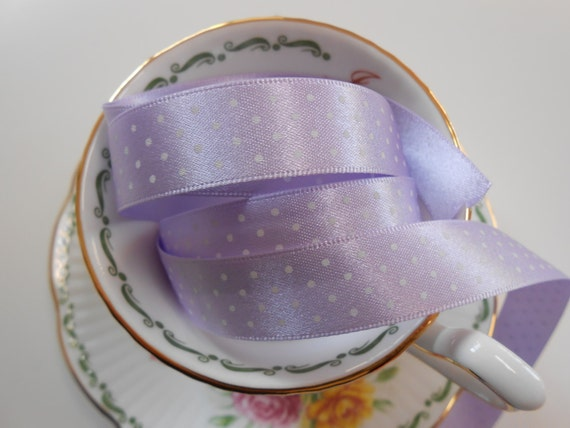 """Ribbon Satin Lilac with Micro Dots  5Yards  5/8""""width"""